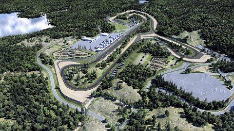 SPENSTIGE PLANER: Slik tenker ildsjelene i motorsportmiljøet på Notodden og Kongsberg at det nye anlegget ved Elgsjø på Meheia skal bli. ILLUSTRASJON: LINKE
