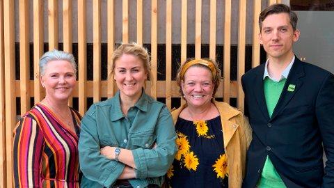 SAMARBEIDSPARTNERE: De rødgrønne i det som ennå er Buskerud, Akershus og Østfold - på sikt Viken - har startet samtaler om å samarbeide om makta. F.v: Anne Beathe Tvinnereim (Sp), Tonje Brenna (Ap), Camilla Eidsvold (SV) og Kristoffer Robin Haug (MDG).