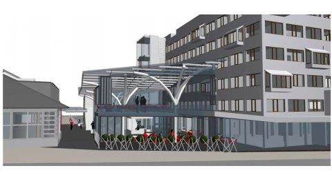 Dette er tegningene Quality Hotel Grand bruker for å vise planene om en egen aktivitetsgate mellom Magazinet og hotellet. Jazzgata vil uansett bestå, de fire dagene i året det er jazzfestival.