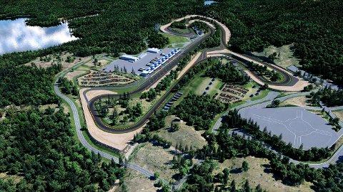 TELEMARK RING: Slik ser planene for motorsportanlegget Telemark Ring ved Elgsjø ut. ILLUSTRASJON: LINKE