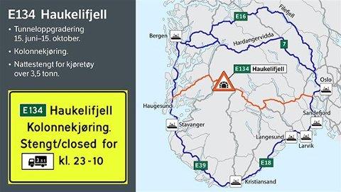 Statens vegvesen melder om at det de siste dagene har det vært stor trafikk over E134 Haukelifjell, til tross for varslet tunnelarbeid. Foto: Statens Vegvesen