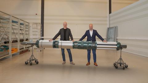 Skal samabeide: Optime Subsea AS på Notodden og Halliburton skal samarbeide om å levere subsea-systemer. Trond Løkka VP Business Development og Jan-Fredrik Carlsen (t.h) er fornøyde med avtalen.
