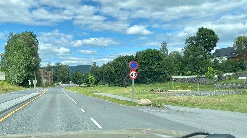 PASS FARTA: Nytt 40-skilt på Bergmannsveien inn mot krysset til Numedalsveien.