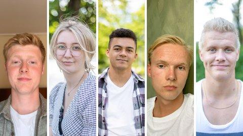 F.v. Henrik Ystanes Domen, Laura Lund Simonsen, Adrien Lenerand, Tomas Haugland Spangelo og Joakim Kasin Jakobsen.