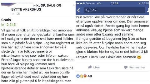 Skjermdump fra Facebook-gruppen «Kjøp, salg og bytte Akershus». En av gruppene der kvinnen har opprettet flere innlegg der hun ber om gaver og ting.