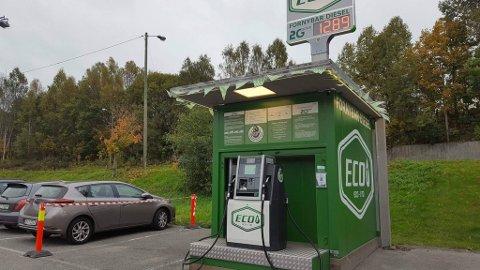 ÅPNING: I dag åpnes denne biodielselstasjonen utenfor Liertoppen kjøpesenter.