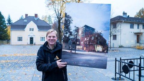 Fornøyd: Daglig leder Rolf Th. Holm i Lillestrøm Delta med Kvartal 1-bygget i sine hender.