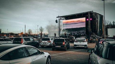 Førpremiere: Tirsdag ble konseptet drive in-konsert ved Norges Varemesse testet ut før kveldens konsert med Klovner i kamp.