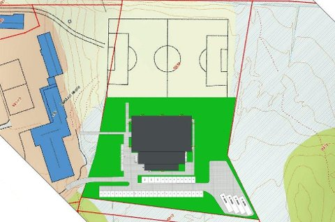 Denne tegninger viser hvor hallen er tiltenkt bygd. Den skal ligge vis-à-vis den eksisterende kunstgressbanen nedenfor Bøstad skole. Foto: Bygg Engineering AS