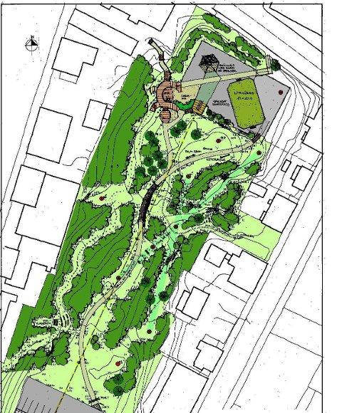 Skisse: Her er en illustrasjon av et forslag om hvordan Vågan eiendom kan komme til å utvikle parken på Langåsen.