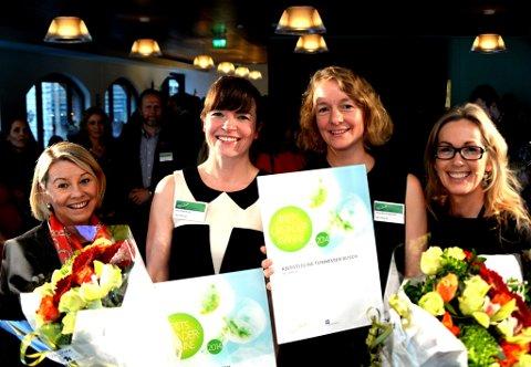 Næringsminister Monika Mæland (t.v.) delte ut prisen til SALT på vegne av Innovasjon Norge. Kriss Rokkan Iversen, Kjersti Eline Tønnesen Busch og leder i Innovasjon Norge, Anita Krohn Traaseth.