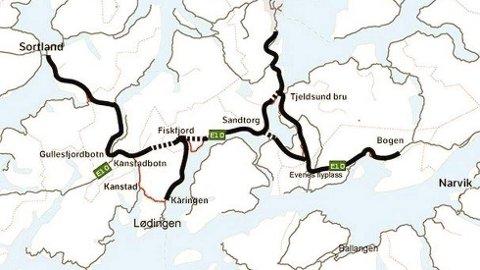 Nye E10: Det arrangeres nå folkemøter om nye E10 fra rundkjøringen i Gullesfjordbotn og fram til Evenes flyplass, med mulig ny tunnel fra Sandtorg under Tjeldsundet og fram til Evenes flyplass. Ill. Statens vegvesen