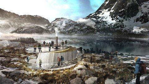 OBSERVATORIUM: Slik er arkitektene i arkitektkontoret KONTUR + CTRL+N for seg at nordlysobservatoriet i Nusfjord skal bli seende ut. Foto: KONTUR + CTRL+N