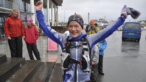 Jubel: Hilde Aders fra Tromsø Løpeklubb vant dameklassen.