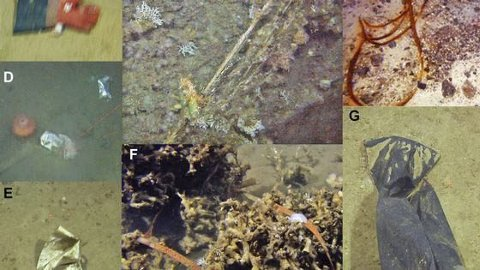 SØPPEL: Eksempler på vanlig søppel funnet på havbunnen: A-C: plasthanske, garn som sitter fast i korallrev og trålwire, D: drikkekartong med plastfôring, E-G: plastpose, pakkebånd i korallrev og søppelsekk. Foto: Imr.no