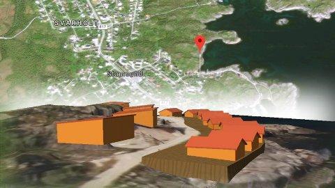 Foreløpig skisse av ett av alternativene for plassering av bygningene i Nilsvika i Stamsund.