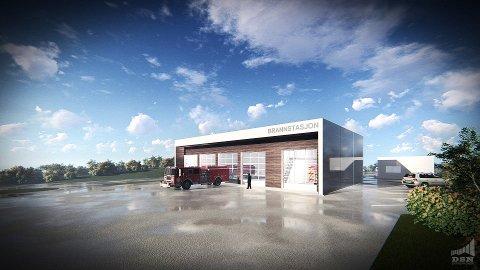 Illustrasjon den nye brannstasjonen på Leknes.
