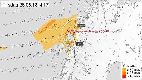 VIND: Det kan bli mye vind i Lofoten i ettermiddag selv om det er Vesterålen, Ofoten og Troms som ser ut til å få det kraftigste vinden