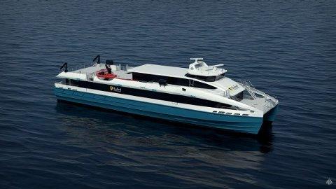 Den første av to slike hurtigbåter i karbonfiber byggemateriale ble 7. januar sjøsatt ved veftet til Brødrene Aa i Hyen.
