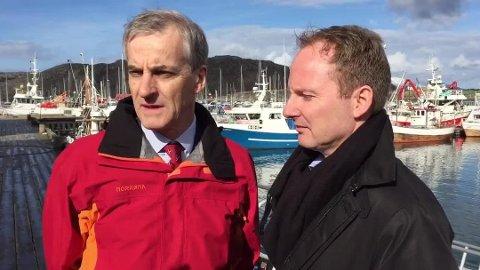 Partileder Jonas Gahr Støre i Arbeiderpartiet og ordfører i Vestvågøy, Remi Solberg (Ap)