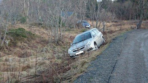 I GRØFTA: Rett før bilen kom gikk det ei lita jenta forbi der bilen kjørte ut