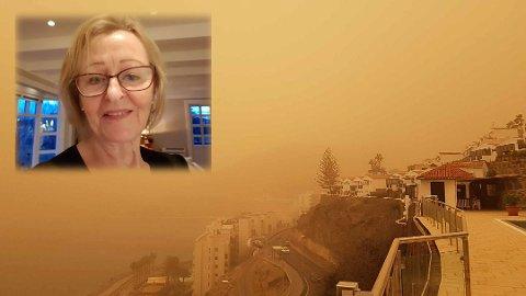 SAND: Her er lufta er full av sand. Bildet er tatt fra Patalavaca, Arguineguin mot Lyngsenteret.