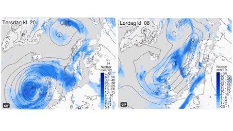 KRAFTIG LAVTRYKK: Et kraftig lavtrykk vest for Irland preger værkartet og vil sette sitt preg på været i Norge inn mot helga. Foto: (Meteorologisk institutt)
