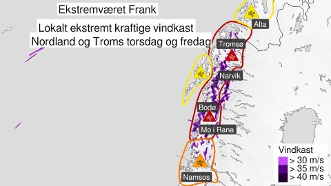 VINDFULLE FRANK: Det ser ut at ekstremværet Frank ikke treffer Lofoten. Men fra  torsdag ettermiddag vil det blåse øst og sørøstlig storm med ekstremt kraftige vindkast lokalt på 35-50 m/s i deler av Nordland.