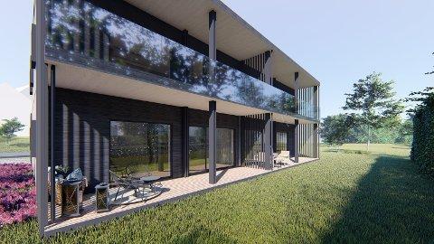 FIRE LEILIGHETER: Slik ser Bolig For Folket AS for seg at leilighetsbygget i Løkthaugveien 3 kan bli. Endringer kan imidlertid forekomme underveis i prosjektet.