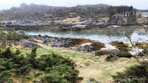 Kalleholmen med de fredete kulturminnene ligger like ved bebyggelsen på Kalle i Vågan.