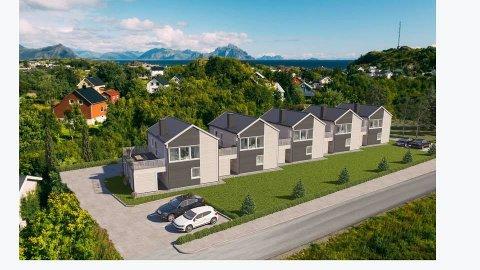 Trones Maskin AS er i gang med byggingen av de fem rekkehusene som her er tegnet inn ferdige i landskapet.