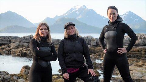 Daglig leder Angelita Eriksen (f.v.), Kari Tønseth og Tamara Singer i Lofoten Seaweed henter inn frisk kapital for å satse internasjonalt.
