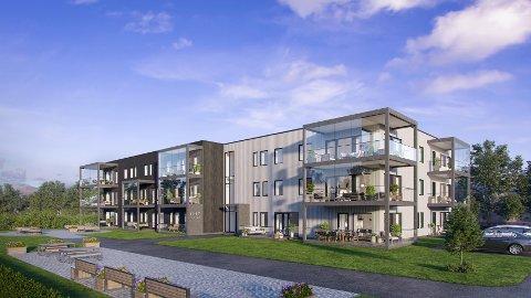 Gunvald Johansen Bygg er allerede begynt å selge leiligheter i Lillevollveien 21 på Leknes, der selskapet planlegger et bygg som dette.