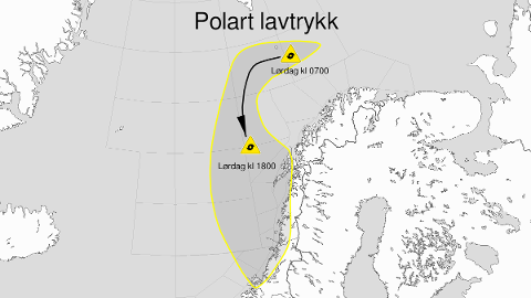 Kart over polart lavtrykk, gult nivå, Vesterålsbankene, Røstbanken, Trænabanken, Sklinnabanken, Haltenbanken og Frøyabanken og Helgeland, Salten, Nord-Trøndelag, Lofoten, Vesterålen og Sør-Trøndelag.