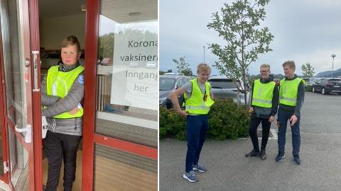 Unge parkeringsvakter: Jens Martin Odinsen (15), Isak Pedersen (16), Martin Lingaard (16) og David Voie Hansen (17).