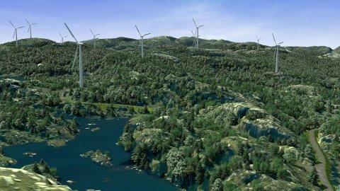 KVINESHEIA: Slik skal vindparken se ut, ifølge konsesjonssøknaden for Kvineheia vindpark.