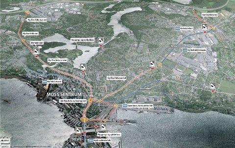 ENDRINGER: Kartet viser hvordan man tenker seg å avvikle trafikken gjennom Moss og deler av Rygge i fremtiden. Selv om staten vil garantere for deler av investeringskostnadene, må bilistene ta sin del av kaka gjennom bompenger.