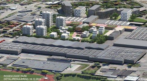 Skisse: Lund Hagem Arkitekter har laget denne illustrasjonen for å vise hvordan prosjektet vil bli seende ut. Det er snakk om en samlet utbygging på 22000 kvadratmeter.