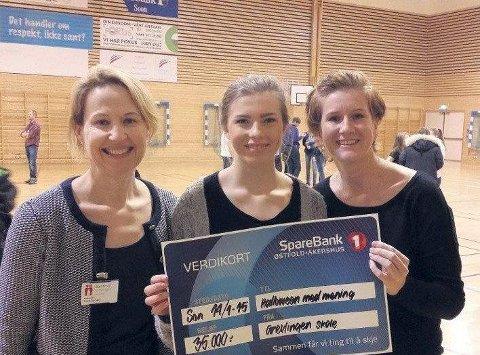 GAVE: Anna Starberg og Sara Stavset mottar 35.000 kroner fra Grevlingen ungdomsskole.