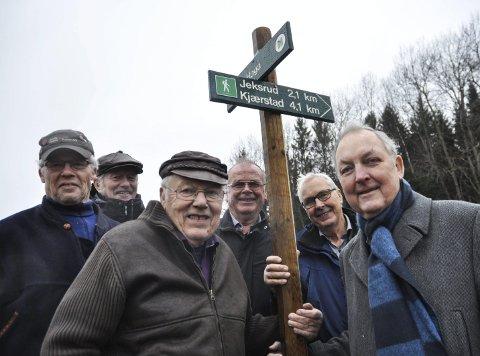 Stor innsats: Denne gjengen har sørget for sju mil med merkede turstier i Garder. F.v. Kjell Olav Mathisen, Leif Ingar Andersen, Sverre Presterud, Hans Pedersen, Lars Hoff og Eivind Topper.