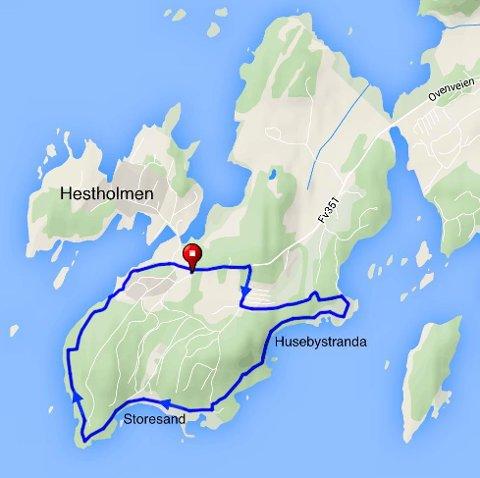 KART: Denne runden på Oven er på 4,2 kilometer og går på småveier, stier og langs vannkanten.