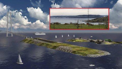 Kunstig øy: For å sy sammen en bru og tunnel løsning har Statens vegvesen tegnet inn en kunstig øy ved Gullholmen.
