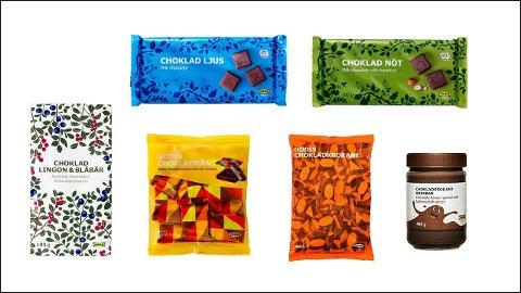 Disse seks produktene blir nå kalt tilbake, da de inneholder hasselnøtter og mandler, noe som ikke kommer godt nok frem på produktene.