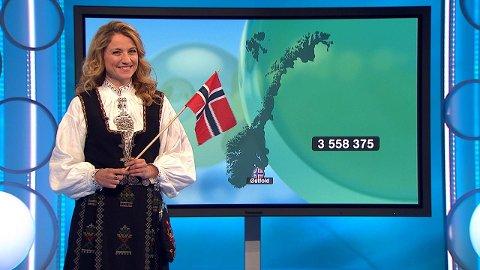 MILLIONDRYSS TIL RYGGE:  Programleder May Lisbeth Midtgård Myrvang kunne glede en mann fra Rygge med 3, 5 millioner på selveste 17. mai.
