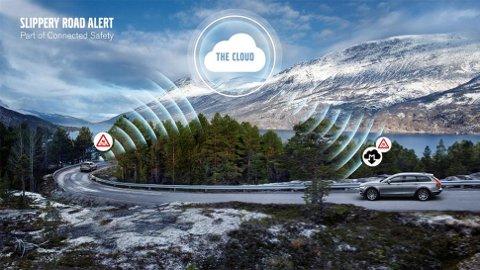 SLIPPERY: Bildet viser et eksempel på hvordan Slippery Road Alert i Volvo fungerer.