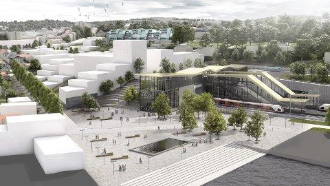 En av mange ideer: Utbygger har lansert mange løsninger rundt den nye jernbanestasjonen.