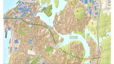 """Skissen viser en Rv19 i tunnel fra Blinken til """"By the Way"""" Røde streker viser veibane i dagen, grønne streker er veibane i bergtunnel og blå streker (ved Øre Båthavn) er kulvert."""