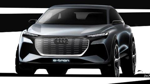 Slik ser den ut – Audis nyeste elbil. Q4 e-tron har verdenspremiere på bilmessen i Geneve om kort tid. Da vises den i konseptversjon.
