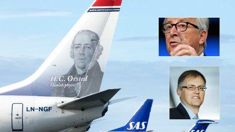 VARSLER FLYSKATT: EU-kommisjonen planlegger en co2-avgift for internasjonale flyvninger, viser et lekket notat fra EU-kommisjonen, her ved EU-kommisjonens president Jean Claude Juncker (innfelt øverst). Torbjørn Lothe i NHO Luftfart tror ikke en slik skatt er hensiktsmessig.