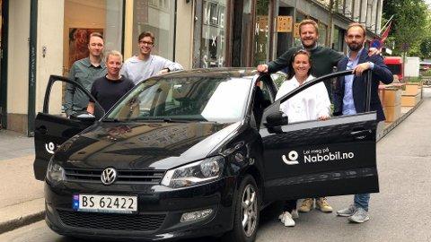 Teamet i Nabobil.no ser frem til å være med på reisen videre. Fra venstre Theodor Tonum, Jenny Sjögren, August Revold Grønli, Lotte Børnick-Sørhaug, Even Tangen Heggernes og Christian Persson Hager.